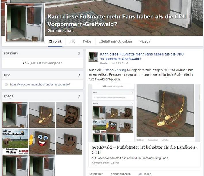Screenshot vom Facebook-Fussmatte